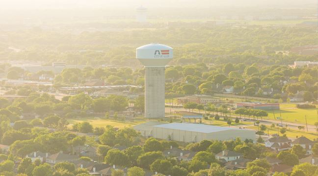 Allen Aerial Shot with Water Tower