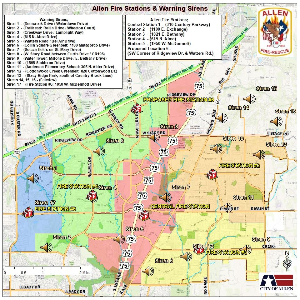 Map of Allen fire stations and sirens