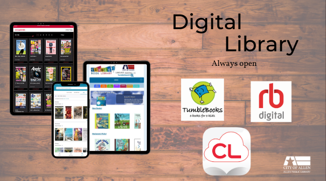 Digital Library: cloudLibrary, RB Digital Magazines, and Tumblebooks