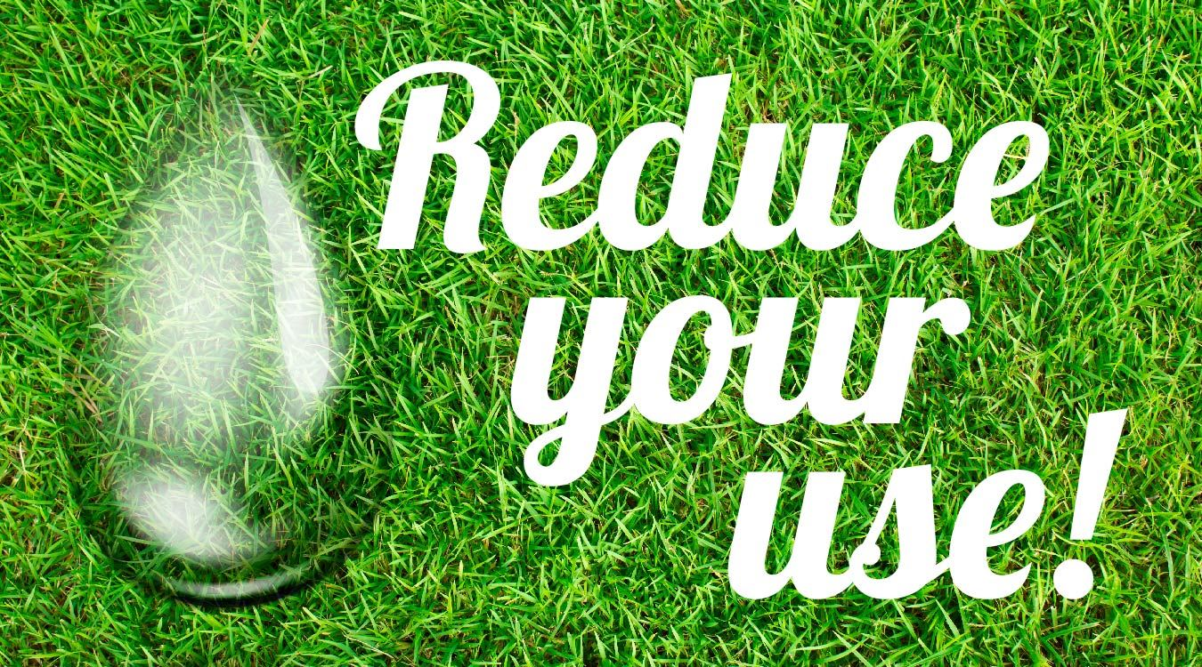 Image: Healthy grass with a water droplet and text - reduce your water use
