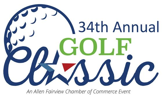 Text: 34th Annual Golf Classic - An Allen Fairview Chamber of Commerce Event