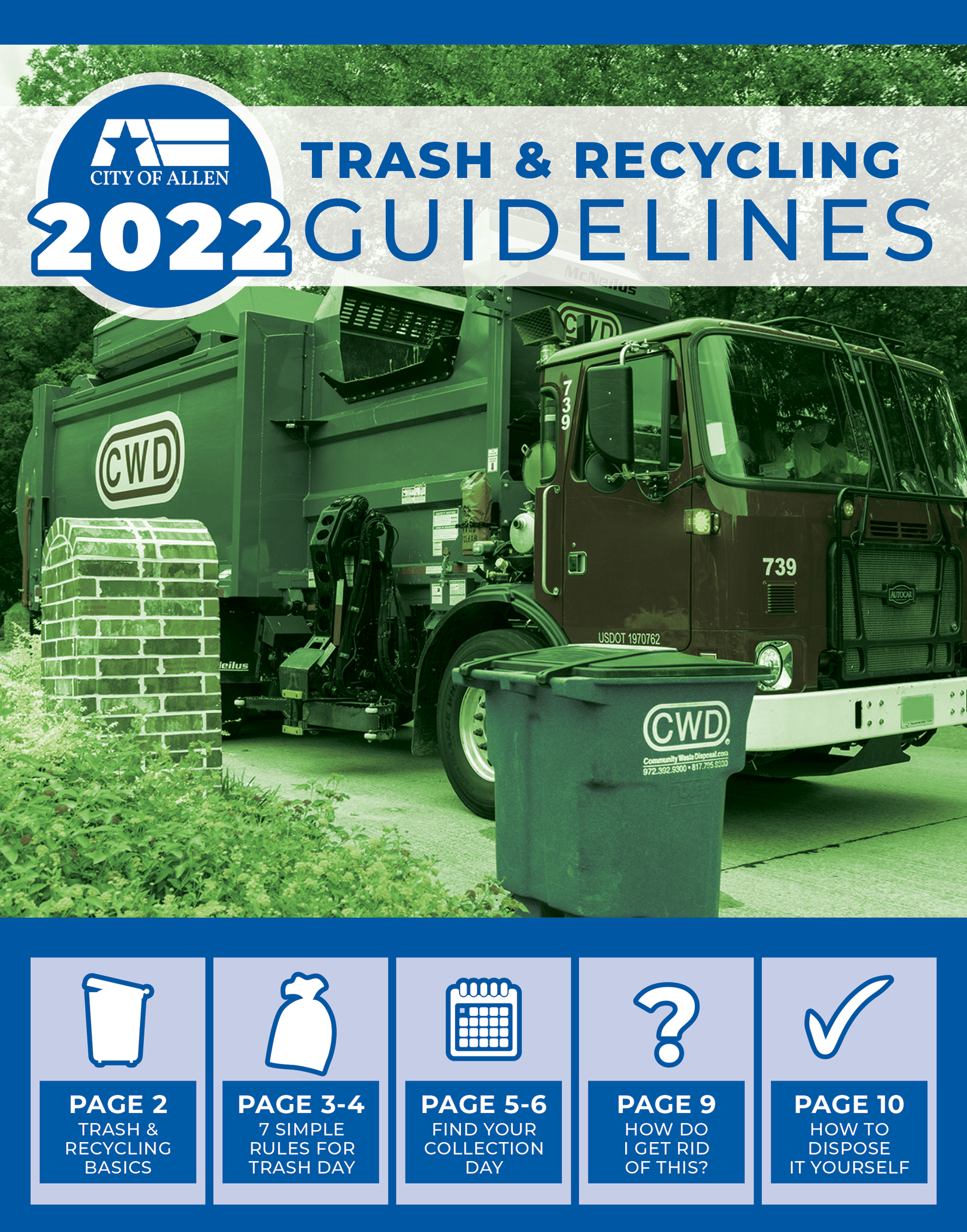 Front cover of 2021 Trash & Recycling Guidelines document