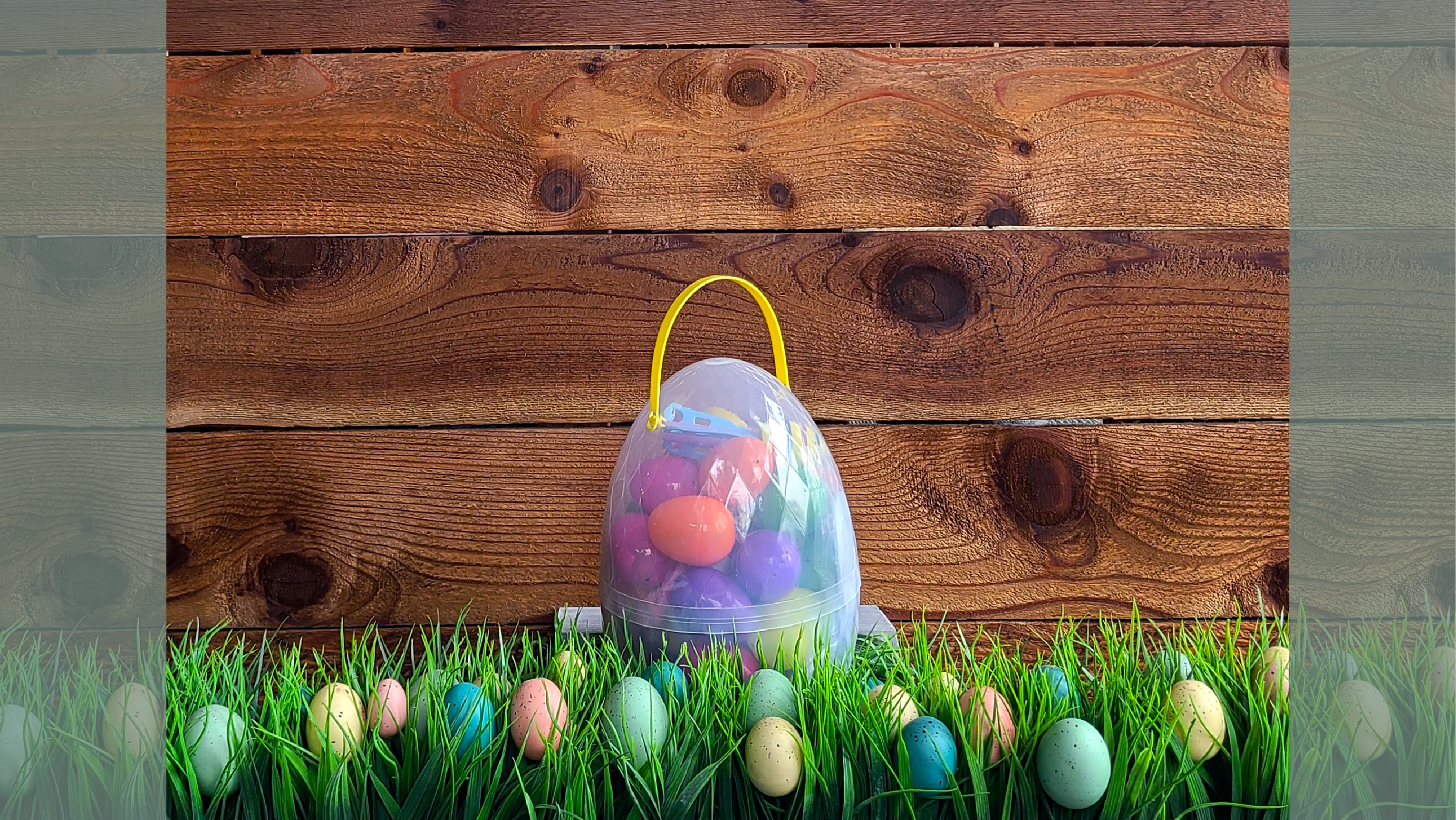 Easter basket surrounded by eggs