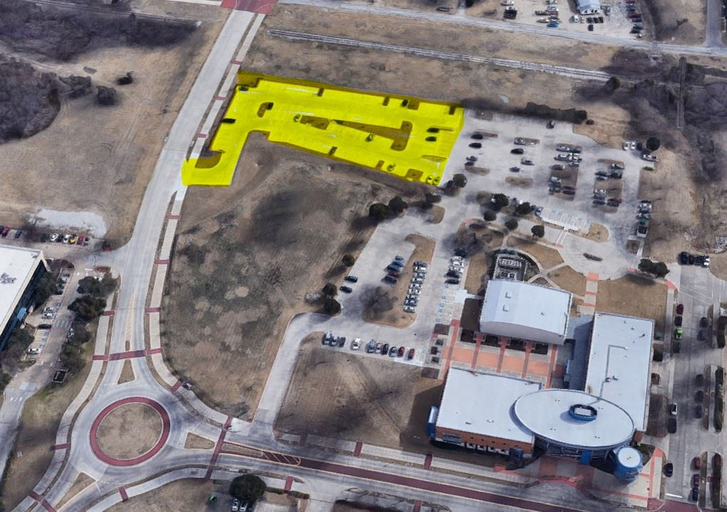 Aerial view of Allen Public Library parking expansion