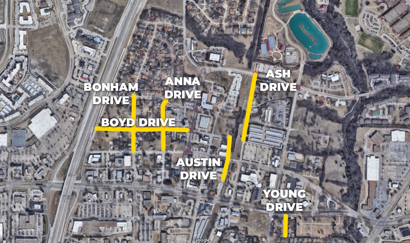 map of street rehab projects planned for Allen's Central Business District in Fall 2020