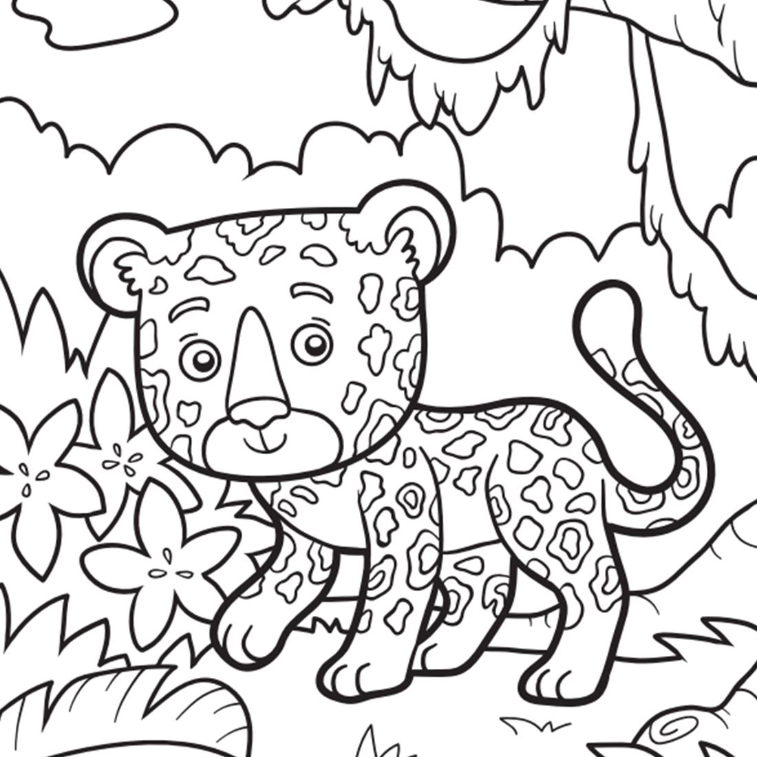 Coloring book drawing of a cheetah