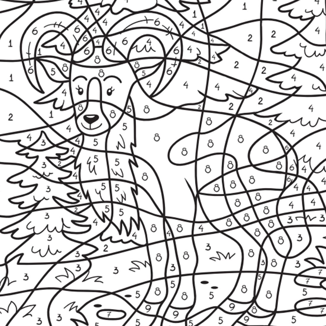 Coloring book drawing of an antelope