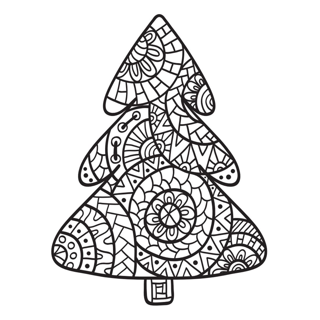 Coloring book drawing of a tree