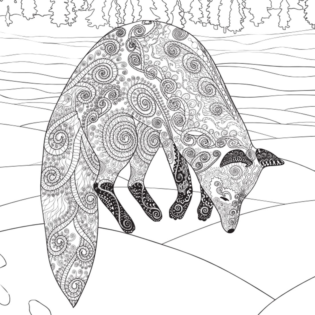 Coloring book drawing of a fox