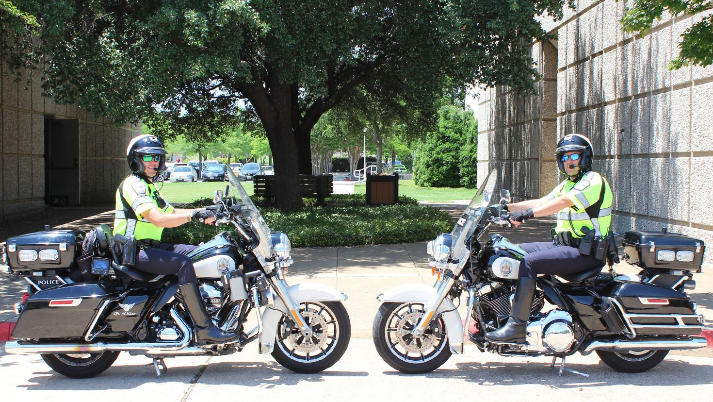 Two Allen police officers on motorcycles