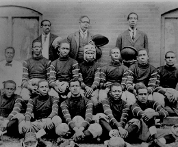 An all black high school football team.