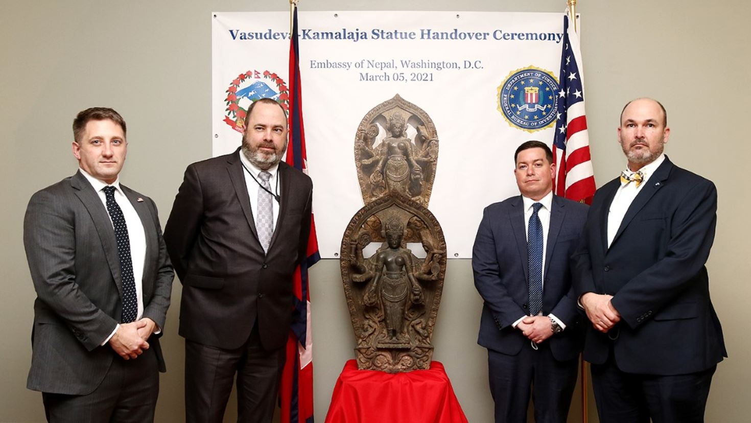 Corporal Mayfield with FBI during stele handover to Nepal