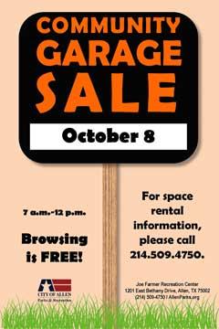 garage sale october 8