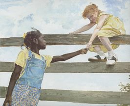 Girl on fence by E. B. Lewis