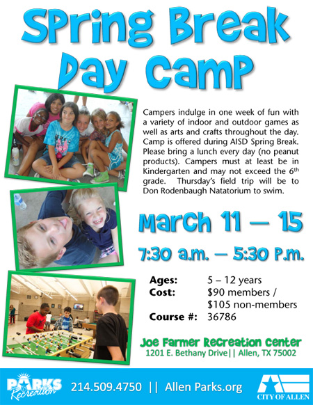 Spring Break Day Camp at Joe Farmer Recreation Center