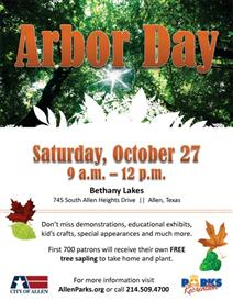 Arbor Day October 27 Bethany Lakes Park