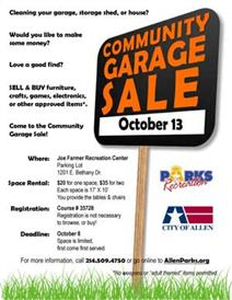 Community Garage Sale October 13