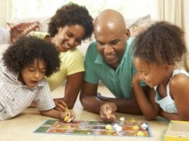 Family playing a game