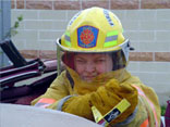 Academy student in fire gear